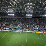 Action in the roofed Otago Stadium  during the Ireland V Italy Pool C match during the IRB Rugby World Cup tournament. Otago Stadium, Dunedin, New Zealand, 2nd October 2011. Photo Tim Clayton...