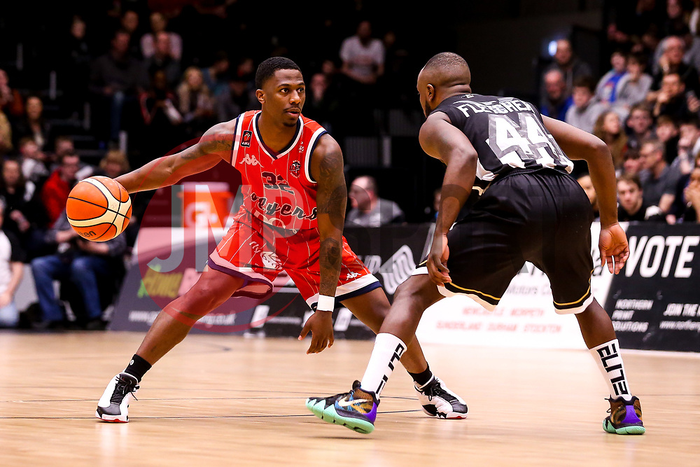 Jalan McCloud of Bristol Flyers takes on Rahmon Fletcher of Newcastle Eagles - Photo mandatory by-line: Robbie Stephenson/JMP - 01/03/2019 - BASKETBALL - Eagles Community Arena - Newcastle upon Tyne, England - Newcastle Eagles v Bristol Flyers - British Basketball League Championship