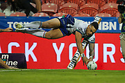 Ken Maumalo dives over in the corner but the try is disallowed. Newcastle Knights v Vodafone Warriors. NRL Rugby League. McDonald Jones Stadium, Newcastle, Australia. 6th July 2019. Copyright Photo: David Neilson / www.photosport.nz