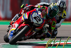 May 10, 2019 - Imola, BO, Italy - Leon Camier of Moriwaki Althea Honda Team during the free practice 2 of the Motul FIM Superbike Championship, Italian Round, at International Circuit ''Enzo and Dino Ferrari'', on May 10, 2019 in Imola, Italy  (Credit Image: © Danilo Di Giovanni/NurPhoto via ZUMA Press)