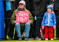 Auchterarder, Scotland, UK. 14 September 2019. Saturday afternoon Fourballs matches  at 2019 Solheim Cup on Centenary Course at Gleneagles. Pictured;  Old and young fans beside the 10th tee. Iain Masterton/Alamy Live News