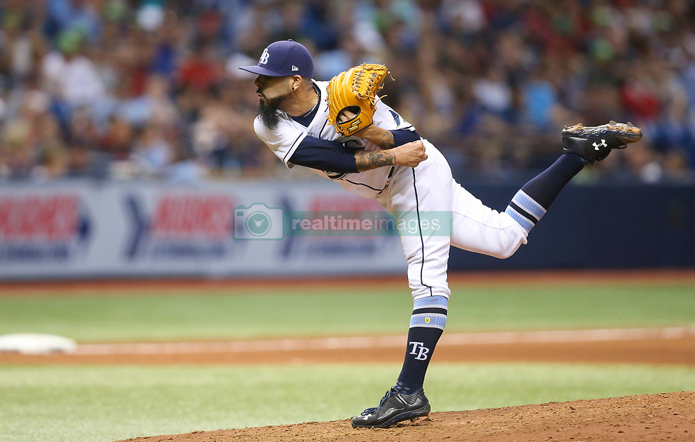 August 8, 2017 - St. Petersburg, Florida, U.S. - WILL VRAGOVIC   |   Times.Tampa Bay Rays relief pitcher Sergio Romo (54) throwing in the eighth inning of the game between the Boston Red Sox and the Tampa Bay Rays at Tropicana Field in St. Petersburg, Fla. on Tuesday, August 8, 2017. (Credit Image: © Will Vragovic/Tampa Bay Times via ZUMA Wire)
