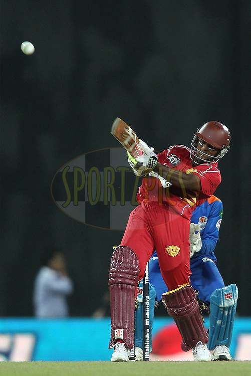 Shivnarine Chanderpaul of Uva Next pulls a delivery to the boundary during match 21 of the Sri Lankan Premier League between Uva Next and Nagenahiras held at the Premadasa Stadium in Colombo, Sri Lanka on the 27th August 2012. .Photo by Shaun Roy/SPORTZPICS/SLPL