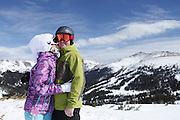 SHOT 2/14/11 12:44:39 PM - Loveland Ski Area in Colorado hosted the 20th Annual Marry Me & Ski Free Mountaintop Matrimony on Valentine's Day Monday, February 14th. The mass wedding ceremony was held at noon at 12,050 feet outside of the Ptarmigan Roost Cabin at Loveland. More than 75 couples were pre-registered to get married or renew their vows high on The Continental Divide in this yearly Loveland tradition.  Following the ceremony couples were invited to a casual reception complete with a champagne toast, wedding cake and music.  (Photo by Marc Piscotty / © 2010)