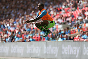Forest Green Rovers Shamir Mullings(18) warming up during the Vanarama National League Play Off Final match between Tranmere Rovers and Forest Green Rovers at Wembley Stadium, London, England on 14 May 2017. Photo by Shane Healey.