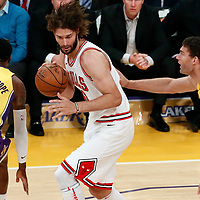 21 November 2017: Los Angeles Lakers center Brook Lopez (11) defends on Chicago Bulls center Robin Lopez (42) during the LA Lakers 103-94 victory over the Chicago Bulls, at the Staples Center, Los Angeles, California, USA.