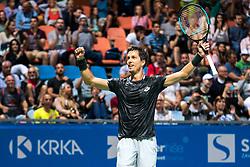 Aljaz Bedene of Slovenia reacts after winning final match during Day 10 of ATP Challenger Zavarovalnica Sava Slovenia Open 2019, on August 18, 2019 in Sports centre, Portoroz/Portorose, Slovenia. Photo by Matic Klansek Velej / Sportida
