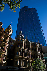 The Rialto Building sits in front of the Rialto Towers - the tallest office building in the southern hemisphere, 525 Collins Street, Melbourne, Victoria, Australia