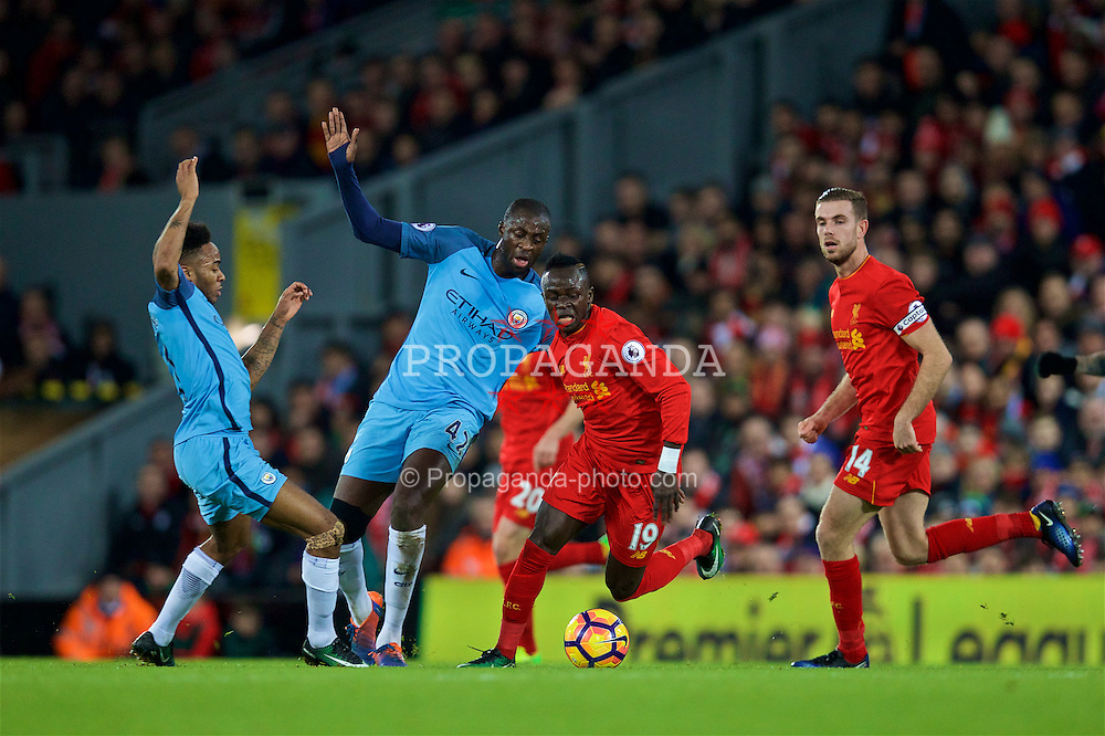LIVERPOOL, ENGLAND - Saturday, December 31, 2016: Liverpool's Sadio Mane in action against Manchester City during the FA Premier League match at Anfield. (Pic by David Rawcliffe/Propaganda)
