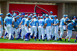 25 May 2019:  Indiana State Sycamores prepare to take the field.  Missouri Valley Conference Baseball Tournament - Dallas Baptist Patriots v Indiana State Sycamores at Duffy Bass Field in Normal IL<br /> <br /> #MVCSPORTS