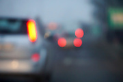 Defocused car's taillight in a traffic jam