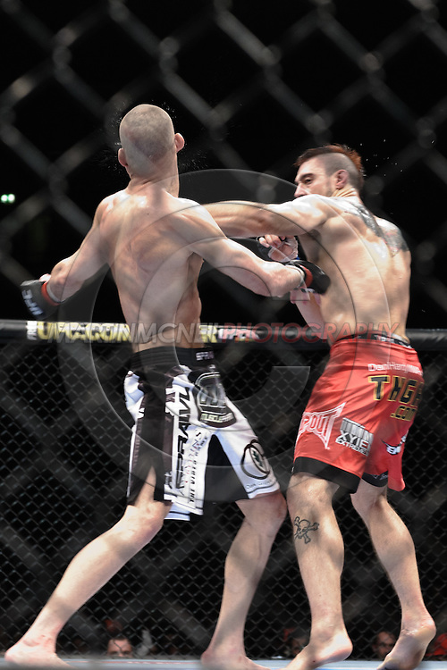 "MANCHESTER, ENGLAND, NOVEMBER 14, 2009: Mike Swick (left) and Dan Hardy during ""UFC 105: Couture vs. Vera"" inside the MEN Arena in Manchester, United Kingdom."