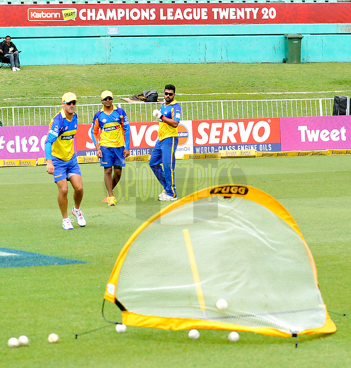 Warm ups by Chennai Super Kings during match 17 of the Karbonn Smart CLT20 South Africa between The Chennai Superkings and Yorkshire held at Kingsmead Park in Durban, South Africa on the 22nd October 2012..Photo by Gerhard Duraan/SPORTZPICS/CLT20