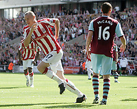 Stoke City v Burnley Premier League Britannia Stadium 15/08/09 Ryan Shawcross celebrates scoring the opener for Stoke City. Photo Patrick McCann/Fotosports International
