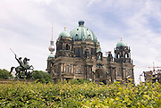 The Berlin TV tower behind the Berlin Cathedral,Berlin,Germany