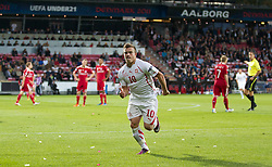 AALBORG, DENMARK - Saturday, June 11, 2011: Switzerland's Xherdan Shaqiri (FC Basel 1893) scores the only goal against Denmark during the UEFA Under-21 Championship Denmark 2011 Group A match at the Aalborg Stadion. (Photo by Vegard Grott/Propaganda)