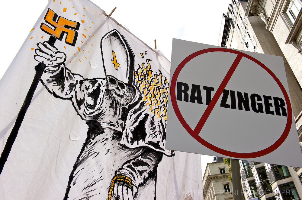 Flags and banner against the Pope Joseph Ratzinger in the streets of London
