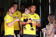 Watford Troy Deeney and son during the Sky Bet Championship match between Watford and Sheffield Wednesday at Vicarage Road, Watford, England on 2 May 2015. Photo by Phil Duncan.