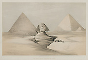 The Great Sphinx, Pyramids of Gezeeh 1846 Color lithograph by David Roberts (1796-1864). An engraving reprint by Louis Haghe was published in a the book 'The Holy Land, Syria, Idumea, Arabia, Egypt and Nubia. in 1855 by D. Appleton & Co., 346 & 348 Broadway in New York.