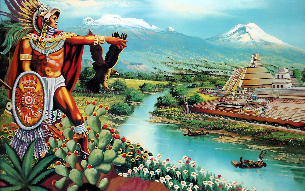 "Reproduction of Cuauhtemoc (L). The name Cuauhtemoc means ""One That Has Descended Like an Eagle"" in Nahuatl - commonly rendered in english as ""Falling Eagle"". Cuauhtemoc took power in 1520 as successor of Cuitláhuac and was a nephew of the emperor Moctezuma II, and his young wife was one of Moctezuma's daughters. He ascended to the throne when he was 18 years of age, as his city was being besieged by the spanish and devastated by an epidermic of smallpox. Feb. 17, 2008. (ivan gonzalez)."