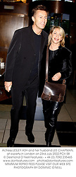 Actress LESLEY ASH and her husband LEE CHAPMAN, at a party in London on 23rd July 2002.PCH 58