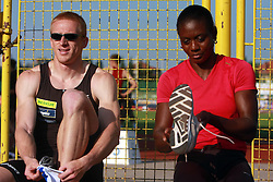 Matic Osovnikar and Merlene Ottey at 3rd Memorial meeting of Matic Sustersic and Patrik Cvetan, on June 1, 2008, in ZSD Ljubljana Stadium, Ljubljana, Slovenia. (Photo by Vid Ponikvar / Sportal Images).