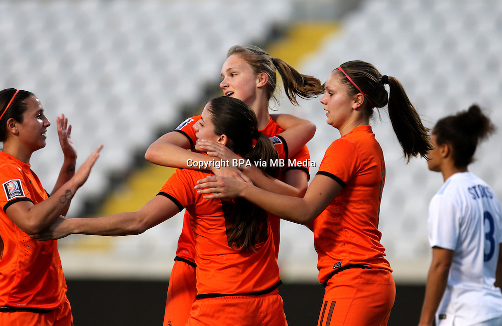 Fifa Womans World Cup Canada 2015 - Preview //<br /> Cyprus Cup 2015 Tournament ( Gsp Stadium Nicosia - Cyprus ) - <br /> Netherlands vs England 1-1   //  Anna Miedema of Netherlands (Middle) , <br /> celebrates with team mates Vanity Lewerissa , Danielle van de Donk and Lieke Martens after his Goal (1-0)