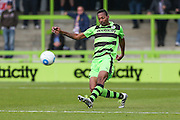 Forest Green Rovers Ethan Pinnock(16) clears the ball during the Vanarama National League match between Forest Green Rovers and Guiseley  at the New Lawn, Forest Green, United Kingdom on 22 October 2016. Photo by Shane Healey.