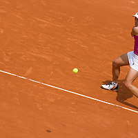 03 June 2007: Austrian player Sybille Bammer hits a backhand shot to Belgian player Justine Henin during the French Tennis Open fourth round match, won 6-2, 6-4 by Justine Henin against Sybille Bammer, on day 8 at Roland Garros, in Paris, France.