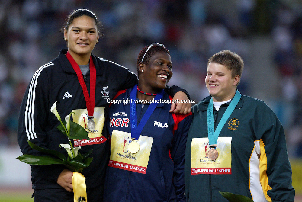 28 July 2002, City of Manchester Stadium,Sport city Commonwealth Games, Manchester, England<br />New Zealand  shot put silver medalist Valerie Adams stands in her position on the podium.<br />Pic: Andrew Cornaga/Photosport
