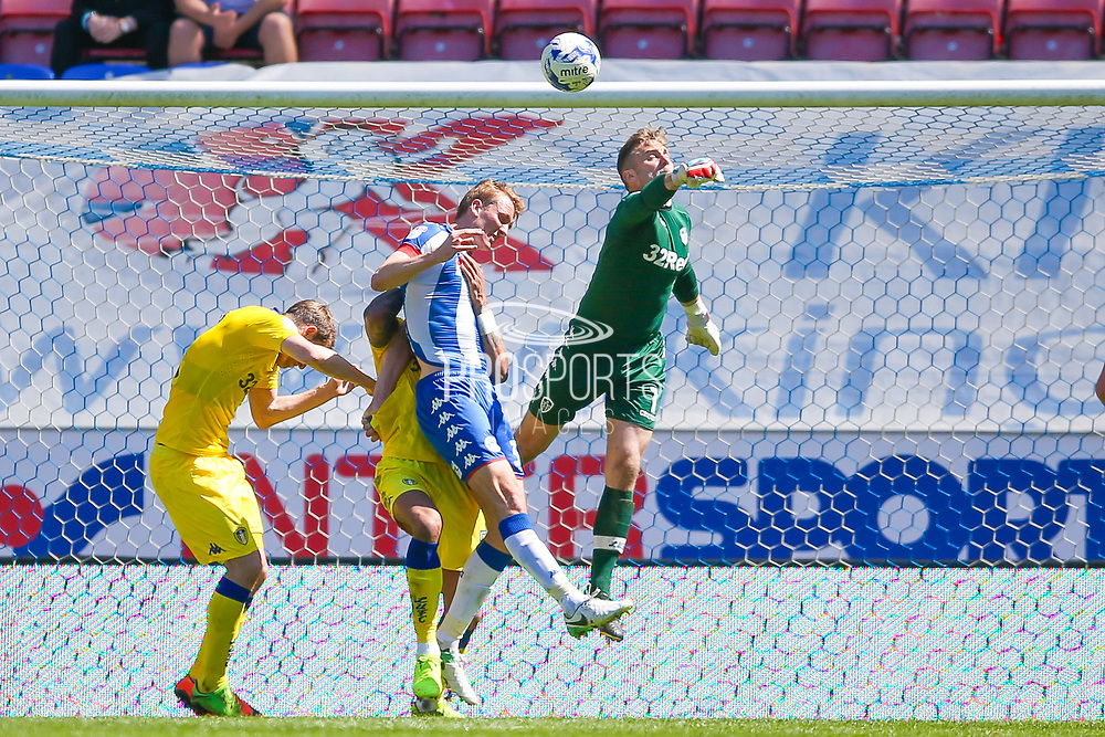 Leeds United goalkeeper Robert Green (1) punches clear  during the EFL Sky Bet Championship match between Wigan Athletic and Leeds United at the DW Stadium, Wigan, England on 7 May 2017. Photo by Simon Davies.