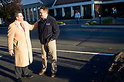SOUTHBURY, CT - 02 NOVEMBER 2010 -.Conn. Sen. Sam Caligiuri (R-16th) speaks with fellow Sen. Rob Kane (R-32nd) in front of polling location Sacred Heart Catholic Church in Southbury on Tuesday. Caligiuri is challenging U.S. Rep. Chris Murphy (D-5th) for Murphy's seat..Photo by Josalee Thrift