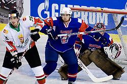 Balint Magosi of Hungary vs. Ales Kranjc of Slovenia at IIHF Ice-hockey World Championships Division I Group B match between National teams of Hungary and Slovenia, on April 23, 2010, in Tivoli hall, Ljubljana, Slovenia. (Photo by Matic Klansek Velej / Sportida)