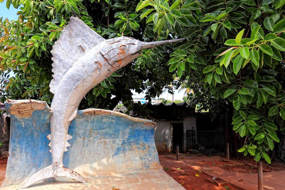 Swordfish sculpture in Santa Cruz del Norte, Mayabeque, Cuba.