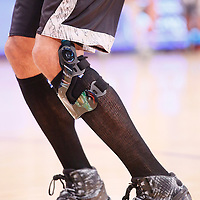 19 March 2014: Close view of San Antonio Spurs forward Tim Duncan (21) knee prior to the San Antonio Spurs 125-109 victory over the Los Angeles Lakers at the Staples Center, Los Angeles, California, USA.