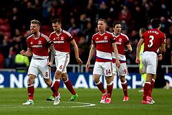 Adam Clayton of Middlesbrough and teammates celebrate Marten de Roon scoring a goal - Mandatory by-line: Robbie Stephenson/JMP - 26/04/2017 - FOOTBALL - Riverside Stadium - Middlesbrough, England - Middlesbrough v Sunderland - Premier League