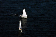Aerial views of the Sailboats in Bar Harbor area of Maine