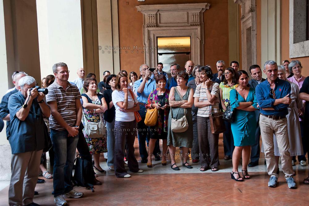 Roma 24 Luglio 2012.Il saluto della Caritas a Don Angelo Bergamaschi.Il vicedirettore della Caritas romana lascia il lavoro dopo oltre 30 anni di servizio...