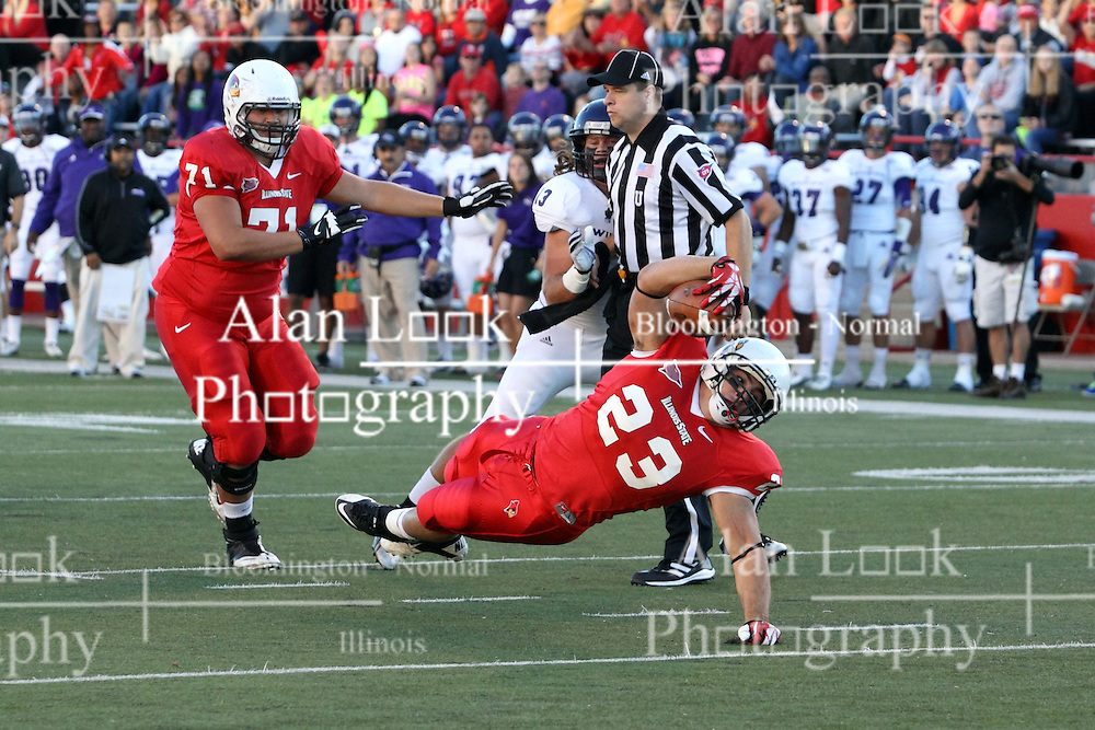 21 September 2013:  Collin Keoshian stretches to get the ball across the goal after stumbling loose through the middle of the line during an NCAA football game between the Abilene Christian Wildcats and the Illinois State Redbirds at Hancock Stadium in Normal IL