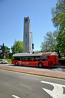 Wolfline bus at Hillsborough Street stop by the Memorial Belltower.