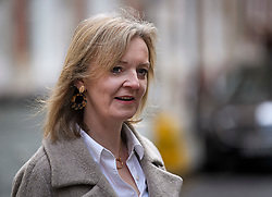 © Licensed to London News Pictures. 04/11/2019. London, UK. LIZ TRUSS arrives at Conservative Party headquarters in Westminster, central London. A general election has been called on December 12th in an attempt to get a Brexit agreement through parliament. Photo credit: Ben Cawthra/LNP