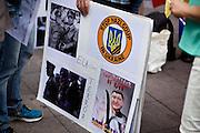 Frankfurt am Main | 30 Aug 2014<br /> <br /> Am Samstag (30.08.2014) demonstrierten &uuml;ber 200 Aktivisten aus dem Umfeld der Partei &quot;Die Linke&quot; und anderen linken und linksradikalen Zusammenh&auml;ngen gegen Krieg und f&uuml;r Frieden. Einige ukrainische Nationalisten und Aktivisten der dubiosen Montagsmahnwache in Frankfurt hatten sich unter die Friedensdemonstranten gemischt.<br /> Hier: In der Demo befanden sich einige ukrainische Aktivisten mit einem Plakat mit einer Fotomontage, die Frank Walter Steinmeier und Joachim Gauck als SS-Offiziere zeigt.<br /> <br /> &copy;peter-juelich.com<br /> <br /> [No Model Release | No Property Release]