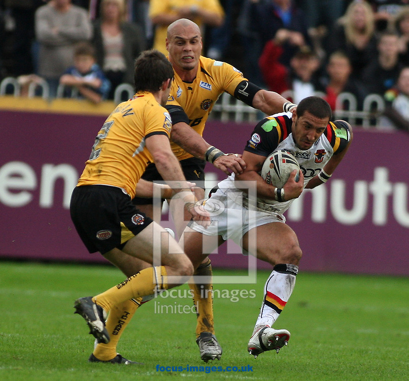 Castleford - Saturday, September 6th, 2008: Bradford's Paul Sykes and Castleford's Awen Guttenbeil during the Engage Super League match at Castleford. (Pic by Steven Price/Focus Images)