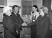 Opening of Automatic Telephone Exchange, Aran Mor..1980-06-20.20th June 1980.20/06/1980.06-20-80..Photographed at Kilronan, Inismore:..Minister of State at the Department of Posts and Telegraphs, Mark Killilea, opens the new automatic exchange at Kilronan on Inismore..From left:..Máire Bn. Ui Chonghaile, Post Mistress of Kill Murvey, Inismore...Minister of State at the Department of Posts and Telegraphs, Mark Killilea TD...Máire Geoghegan-Quinn TD, Minister for the Gaeltacht...Máire Bn. Nic Giolla Phádraig, Postmistress Kilronan who looks after the exchange.