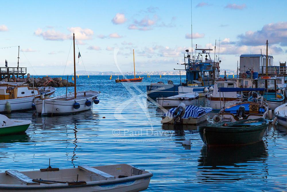 Sorrento, Italy, September 15 2017. Fishing boats moored in Marina Grande in Sorrento, Italy. © Paul Davey