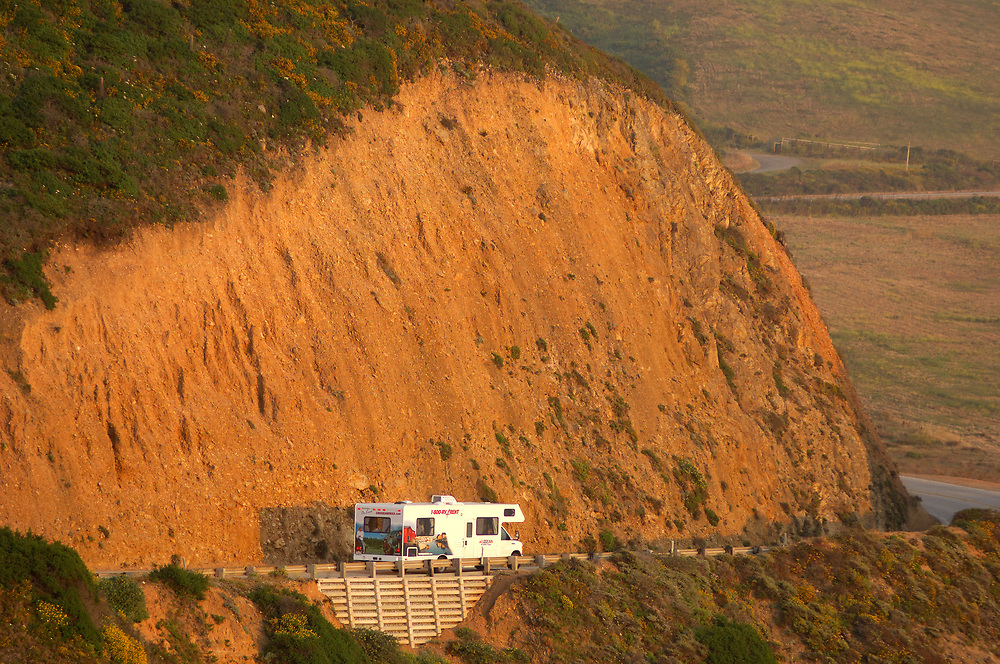 Motorhome on  Highway 1, Cabrillo Highway, Big Sur, California, United States of America