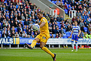 Preston North End Forward Jermaine Beckford (10) scores during the Sky Bet Championship match between Reading and Preston North End at the Madejski Stadium, Reading, England on 30 April 2016. Photo by Jon Bromley.