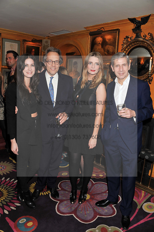Left to right, CHARLIE HAYES-JONES, the EARL OF MARCH, MISCHA BARTON and SIR STUART ROSE at the Johnnie Walker Blue Label and David Gandy partnership launch party held at Annabel's, 44 Berkeley Square, London on 5th February 2013.