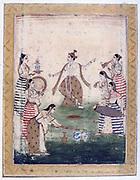 Album of Ragamala. Vasanta (Spring): Krishna dances to playing of Gopis,  cow-herding young women devoted to Krishna. 19th century Indian miniature, Rajasthan School with Mughul influence.