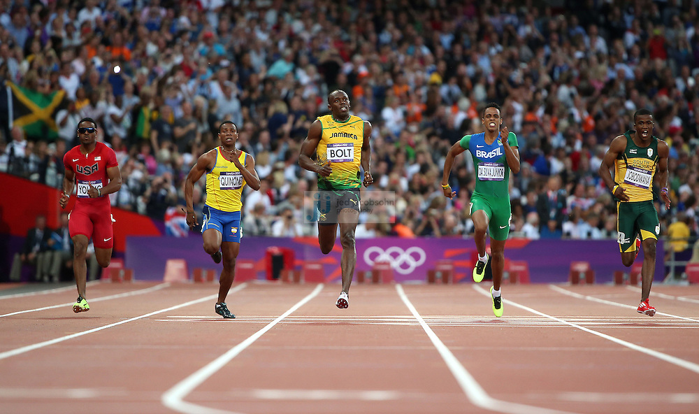 Usain Bolt of Jamaica runs in a semi-final for the men's 200m during track and field at the Olympic Stadium during day 12 of the London Olympic Games in London, England, United Kingdom on August 8, 2012..(Jed Jacobsohn/for The New York Times)..